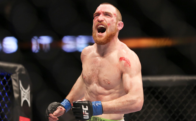 Pat Healy celebrates his upset victory over Jim Miller at UFC 159 in April.