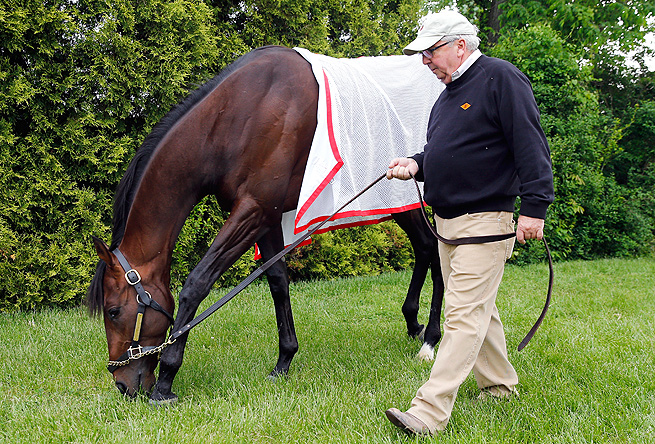Trainer Shug McGaughey was pleased with Orb's first workout on the Pimlico racing surface.