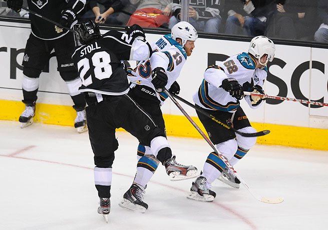 Raffi Torres (center) could be suspended after this hit on the Kings' Jarret Stoll.