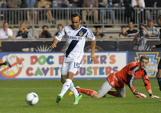 Landon Donovan made his mark for the Galaxy with this goal in the 87th minute against the Union.