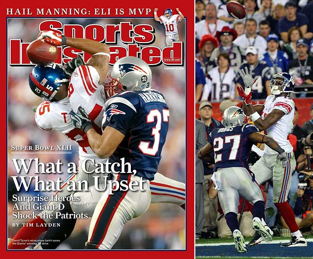 Pats' bid for an unbeaten season falls short as Eli Manning hits Plaxico Burris with a 13-yard TD pass in the final minute. The TD was set up by a spectacular 32-yard Manning to David Tyree pass that Tyree catches with one hand and his helmet. The Patriots, who had averaged nearly 37 points per season, are held to their lowest output of the season.