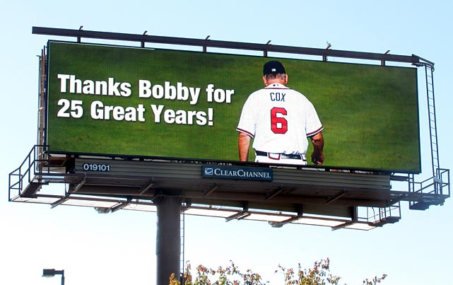 Bobby Cox got a similar sendoff in the Braves home state of Georgia.