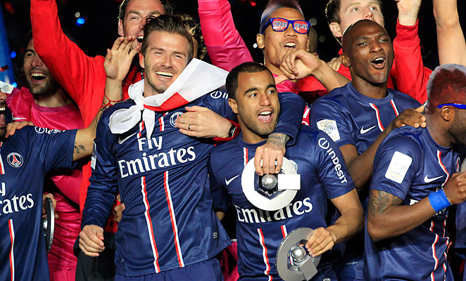 PSG celebrated their third-ever French league title on Saturday as David Beckham played his final game.