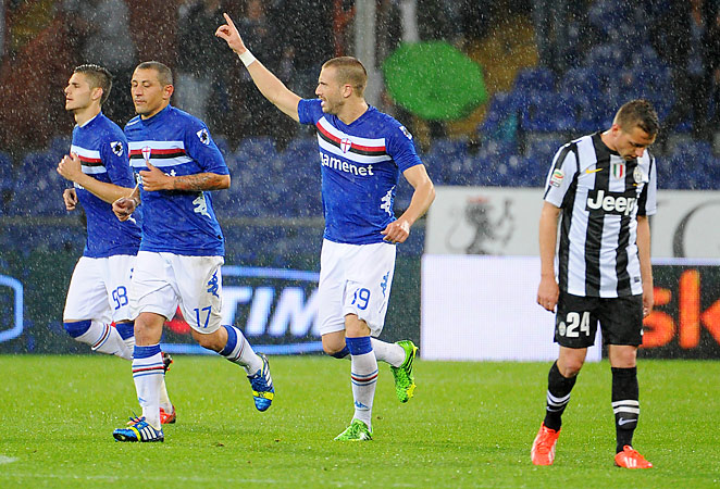 Lorenzo De Silvestri (center) scored his second goal of the season in the 2-1 win over Juventus.