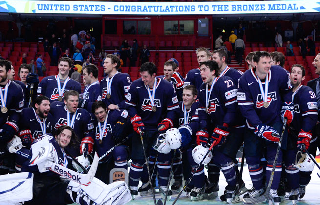 The United States won its first medal at the ice hockey world championships in nine years.