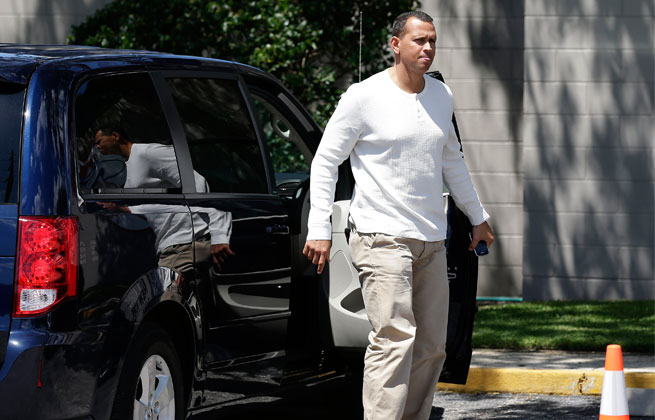 Alex Rodriguez, recuperating from hip surgery, fielded grounders and took 25 swings during batting practice Monday.
