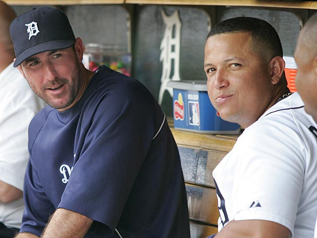 Justin Verlander and Cabrera visit in the dugout.