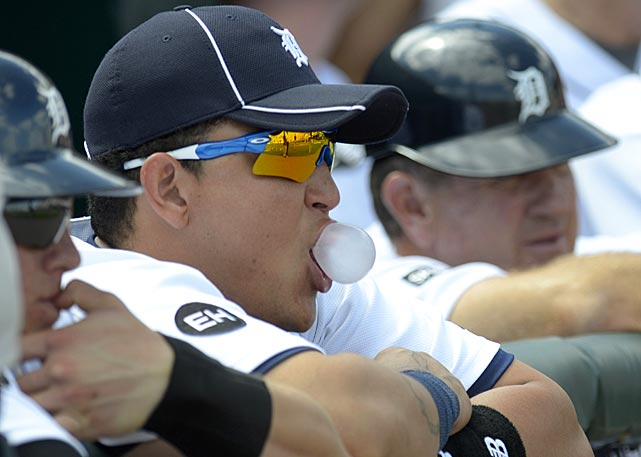 Cabrera has been known to blow a bubble or two during the season. He also found opposing pitching to his liking in 2011, finishing with his first AL batting crown, thanks to a .344 average.