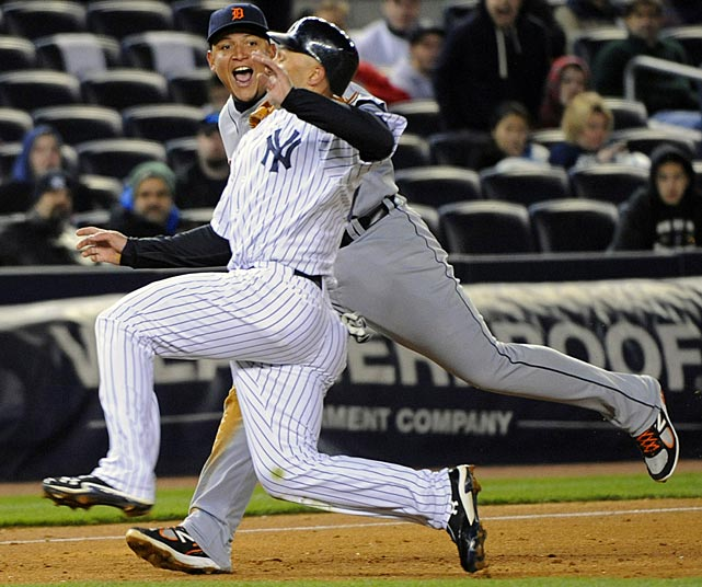 Cabrera tags out New York Yankees' Raul Ibanez on a fielder's choice during an April game at Yankee Stadium.