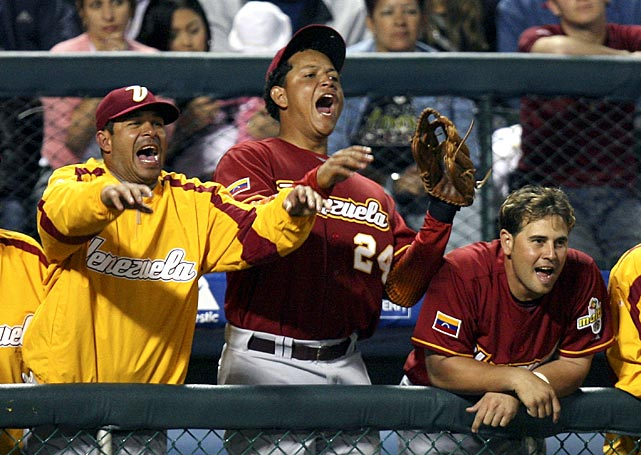 Cabrera, the captain of the Venezuelan team, and his teammates join his chant as the bases are loaded in the sixth inning against Australia during the inaugural 2006 World Baseball Classic. Venezuela finished seventh.