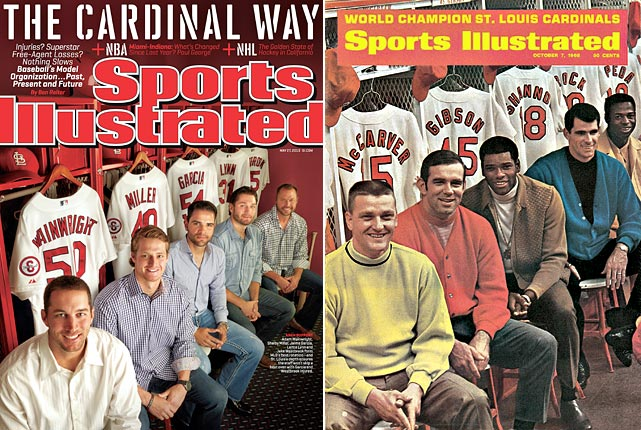 The May 27 cover was inspired by the Oct, 7, 1968, SI cover that featured Roger Maris, Tim McCarver, Bob Gibson, Mike Shannon and Lou Brock.