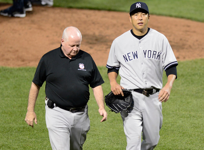 Hiroki Kuroda gave up five runs and eight hits in an abbreviated two-plus inning start against Baltimore.