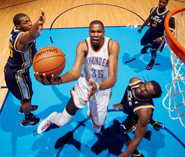 <bold>1st Team Votes: 102 | Points: 555</bold> <bold>28.1 points | 7.9 rebounds</bold><bold> | 4.6 assists</bold><bold> | 1.4 steals</bold> Durant set a career-high in PER (player efficiency rating) while flirting with the vaunted 50/40/90 club.