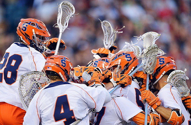 Syracuse celebrates a victory over Denver after scoring the go-ahead goal with less than 20 seconds left.