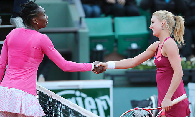 Venus Williams went out in the first round of the French Open for the first time since 2001.