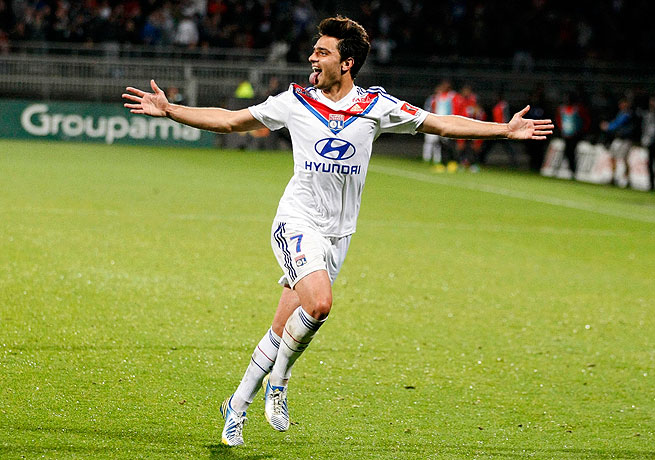 Clement Grenier  after scoring the goal that put Lyon up 2-0 against Rennes.