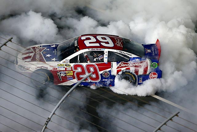 Kevin Harvick does a celebratory burnout after winning the Coca-Cola 600.
