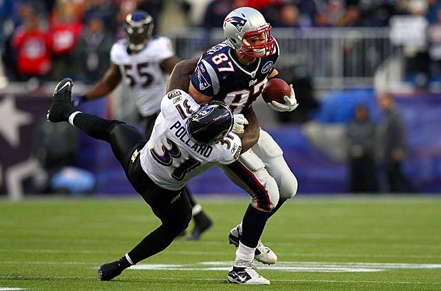 "With five catches for 87 yards, Gronkowski had another productive game in the 2011 AFC Championship Game. The big concern for Patriots fans, however, came after ""Gronk"" was tackled by Bernard Pollard, causing the tight end to suffer a high ankle sprain."