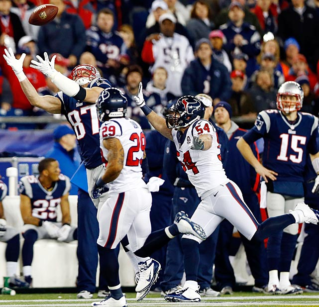 The final third of the 2012 season did not go as well for Gronkowski, as he missed five games after breaking his forearm in November. He returned for the regular season finale and played in the Patriot's AFC Divisional Playoff game vs. the Texans. During that game, Gronkowski reinjured his forearm while landing following this catch, an injury that put him out for the rest of the season and required him to get more surgery. The Patriots learned in mid-May that he needed back surgery as well.