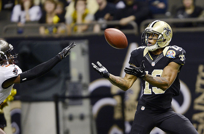 Joe Morgan had 10 catches for 379 yards and 3 touchdowns for the New Orleans Saints in 2012.