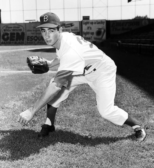 In what would be a harbinger of things to come in the first half of his career, Koufax struggled with his control in his first outing, walking eight hitters and striking out only four in a no-decision at Pittsburgh. He would not start another game until Aug. 27th of that season, but he threw a complete game shutout with 14 strikeouts against the Reds. The Dodgers won their only world championship in Brooklyn that year but Koufax did not pitch in the Fall Classic.