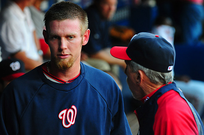 Stephen Strasburg was removed from Friday's game against the Braves after two innings.