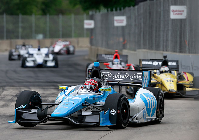 Simon Pagenaud (front) stayed clear of the crashes that plagued the rest of the field en route to victory.
