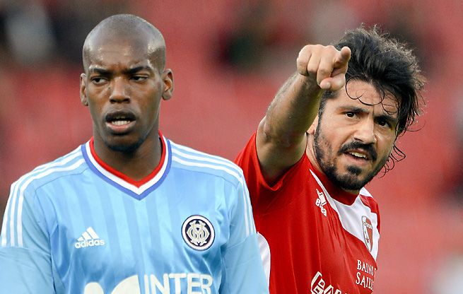 Gennaro Gattuso (right), who served as a player-manager for the Swiss club Sion, now returns to Italy.