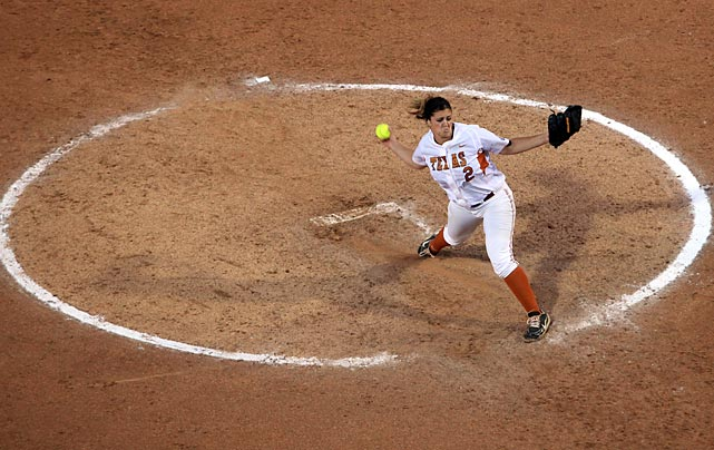 Texas pitcher Kim Bruins makes a throw against Arizona State University during the NCAA College World Series in her team's 6-3 win on May 31.