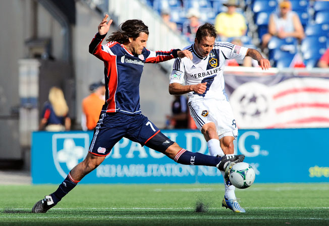 Midfielder Juan Toja (left) and the New England Revolution knocked off the LA Galaxy 5-0 on Sunday.