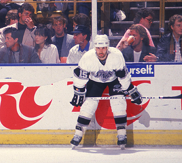 A journeyman forward who had never scored more than eight goals in parts of six NHL seasons, Kontos made his legend by returning from a stint in Switzerland, signing on with the Kings, and exploding for nine in 11 playoff games during Wayne Gretzky's first season with Los Angeles. Of course, it helped to skate on a line with the Great One, but Kontos' outburst, which included a hat trick in Game 2 of the first round vs. Edmonton, helped the Kings come back from a three games to one deficit and topple Gretzky's old team in seven. Kontos posted eight of his goals in that series. He made only one more playoff appearance during this rest of his career, tallying once, but went out with a flourish for Tampa Bay by putting up 27 goals and 51 points in his NHL final regular season (1992-93).