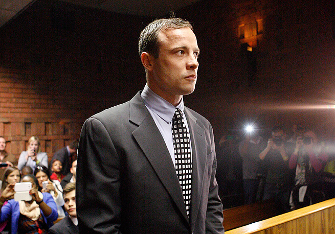 Oscar Pistorius showed little emotion during his 15-minute court hearing in Pretoria.