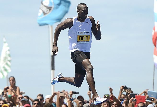 "Usain Bolt won the ""Mano a Mano"" 150 meter challenge held on Copacabana beach in Brazil in March."