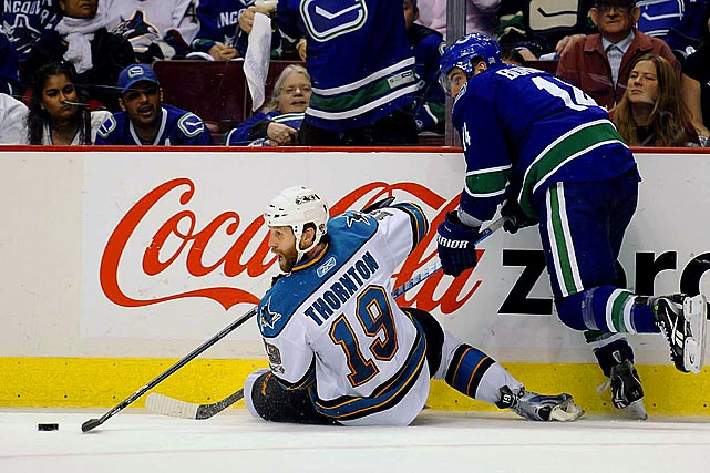 "Although his team fell short against the Canucks in the 2011 Western Conference finals, you couldn't blame Sharks captain Joe Thornton for a lack of effort. The 14-year NHL veteran played in Game 5 despite the fact that he had suffered a separated shoulder two nights before. He also had a broken pinkie. His determination didn't quite translate into results, though, as he went minus-2 in what became San Jose's final game of the season. ""Obviously, that's a very courageous game for him to play,"" Sharks coach Todd McLellan told reporters. ""It was very painful. Our training staff and doctors did a tremendous job in preparing him to play. Like I had mentioned to you before, when he comes and tells you he's playing, he's playing."" Thornton needed surgery for both injuries."