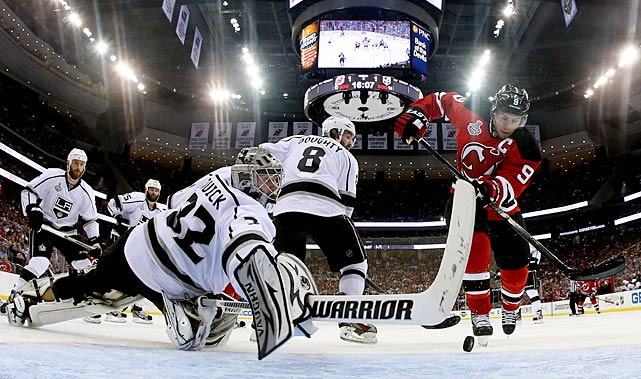 The Kings' crablike goalie was spectacular while allowing only 29 goals in 20 postseason games as Los Angeles became the first eight seed to capture the Stanley Cup. He saved his best for last in a duel with the Devils' venerable veteran Martin Brodeur, as the New Jersey was able to get only seven pucks past him (two were deflected) during their six-game final. His 1.41 goals-against average and .946 save percentage set NHL marks for goalies who played at least 15 playoff games. For his efforts, Quick was awarded the Conn Smythe Trophy as the postseason MVP.
