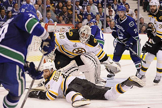 Completing an epic comeback from a hip injury, the 37-year-old Thomas backstopped Boston to its first Stanley Cup since 1972 and won the Conn Smythe Trophy in the process. Notable for his unorthodox scrambling style, Thomas stopped 238 of Vancouver's 246 shots (.967 save pct.) in their seven-game final series, which included two of his four postseason shutouts. In all, he posted a stingy 1.98 goals-against average for postseason. He even displayed a feisty streak, smacking Vancouver's Alex Burrows in the head and cross-checking Henrik Sedin.