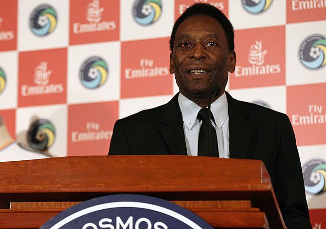 Soccer great and Cosmos honorary president Pele was on hand for the partnership announcement.