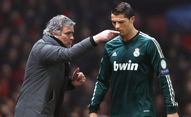 Jose Mourinho gives orders to Cristiano Ronaldo during a Champions League match in March.