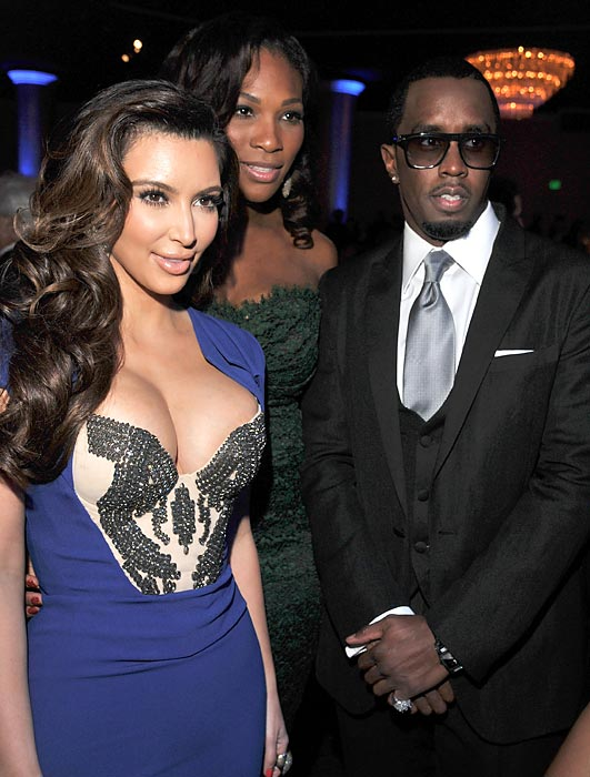 "Serena along with Kim Kardashian and Sean ""Diddy"" Combs at a 2012 Pre-Grammy gala."