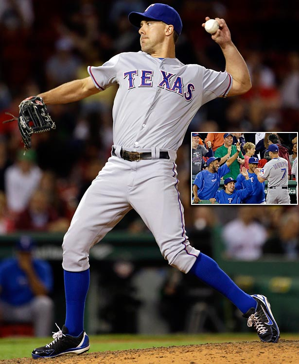 David Murphy may have gone 0-for-4 in the Rangers 17-5 loss to Boston, but he was able to do what five other Texas pitchers could not -- pitch an entire inning without allowing a run. Murphy came in from left field in the eighth to make his first career pitching appearance and kept Boston from scoring after Daniel Nava hit a leadoff double. Most notable was Murphy's strikeout looking of Mike Carp, who had gotten on base in all four of his plate appearances in the game, including a home run, before facing Murphy.