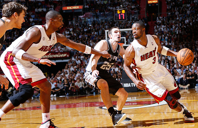 Dwyane Wade will be looking for his third NBA title when the Heat face the Spurs in the Finals.