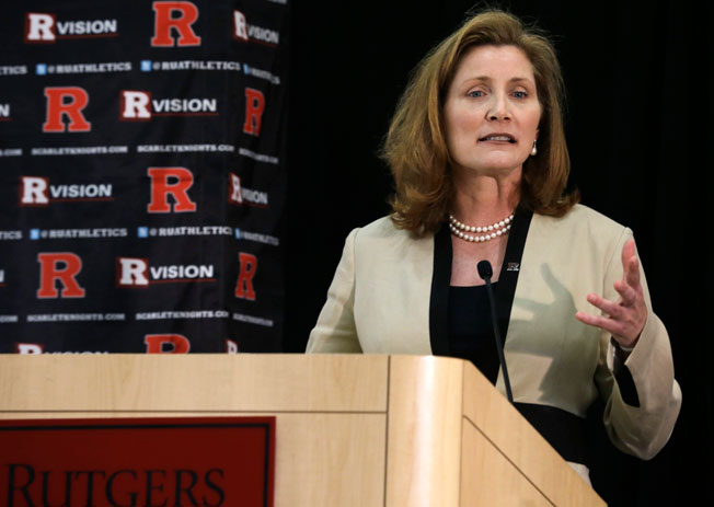 Rutgers AD Julie Hermann visited campus to meet with coaches and Big Ten commissioner Jim Delany.
