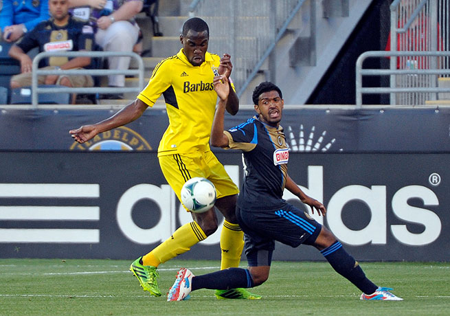 Philadelphia's Sheanon Williams (right) scored the second goal for the Union in the 29th minute.