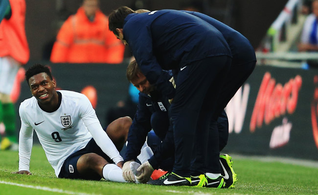 Daniel Sturridge suffered a high ankle sprain during England's friendly against Ireland.