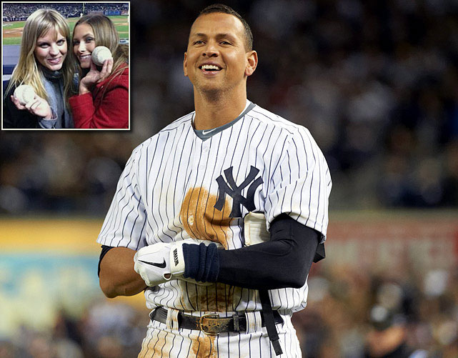 He may have been benched late in the ALCS opener, but A-Rod found something to do while sitting out of the game: Flirting with a woman in the stands near the dugout, later identified as Kyna Treacy (inset right), an Australian bikini model. According to <italics>The New York Post</italics>,<italics> </italics>A-Rod reportedly asked a ball boy to give a ball to Treacy and her Aussie friend, Kate Quinn (inset left), with a note asking for Treacy's phone number.