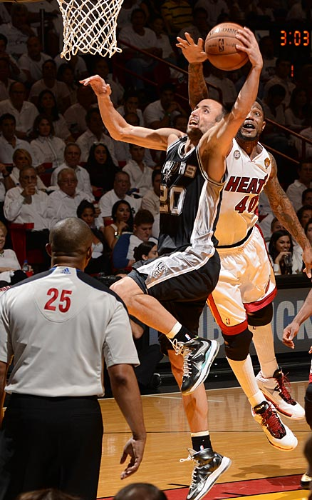 Udonis Haslem couldn't quite catch up to Ginobili, who says he might retire after thee Finals.