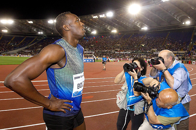 Usain Bolt lost to Justin Gatlin by .01 at the Diamond League meet in Rome, but all cameras were still turned on him.
