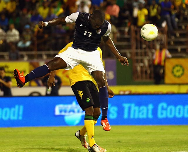 Jozy Altidore scores a goal against Jamaica.