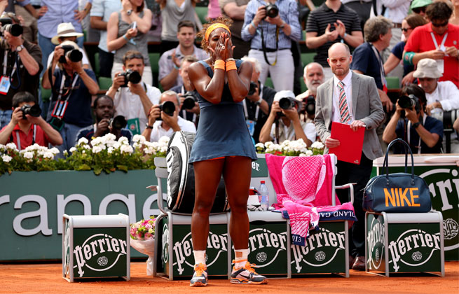 Serena Williams improved to 14-2 against Maria Sharapova, including victories in their past 13 meetings.