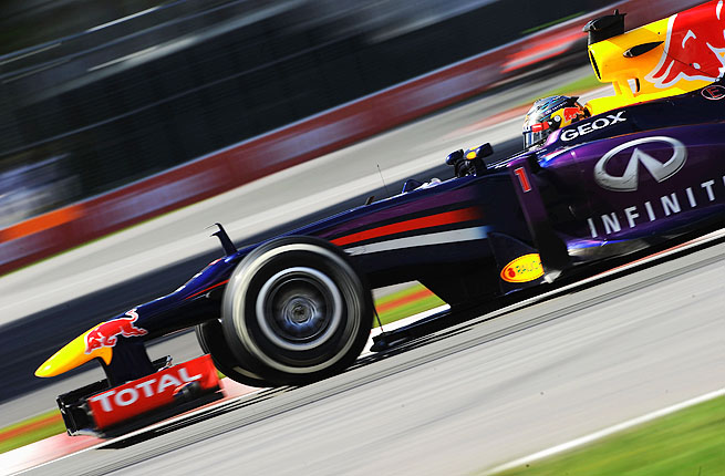 Starting from the pole position, Vettel finished 14.4 seconds ahead of Fernando Alonso's Ferrari.